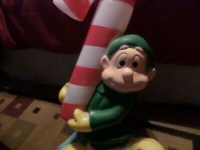 "Vintage Elf Candy Cane Plastic Blow Mold Outdoor Christmas Decor 32"" Lightup"