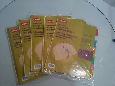 Lot Of 5 Staples Assorted Color 8 Large Tab Insertable Dividers