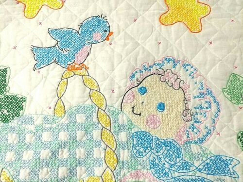 """Blue Birds HUSH A BYE BABY Quilt Bucilla Cross Stitch Finished 28 x 40"""" Coverlet"""