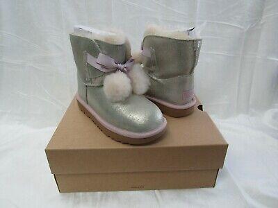 NIB/NEW UGG Australia Kids Girls GITA  Metallic Gold Suede Boots Size 3