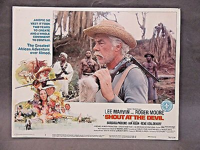 """1976 Lee Marvin Roger Moore SHOUT AT THE DEVIL 14"""" x 11"""" movie Lobby Card TM"""