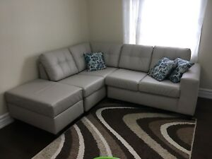 Grey Leather Sectional with Ottoman $720