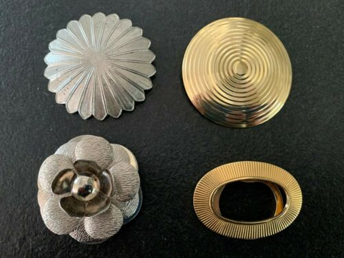 Vintage Gold and Silver Toned Scarf Clips Lot of 4