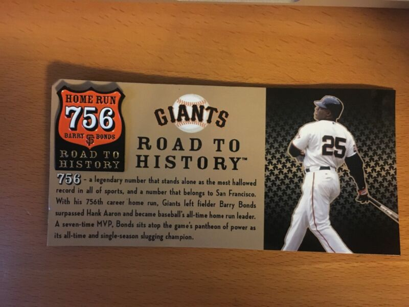 San Francisco Giants Barry Bonds 756 Home Run Road To History Pin, Sga, Sf