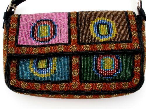 Vintage Glass Bead Purse Handbag Clutch Beaded Bag Brown Pink Blue Green Gold