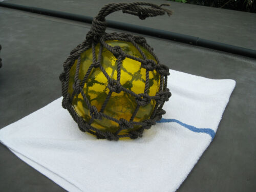 Japanese Glass Fish Net Float - Light Yellow/Sunrise -  Medium