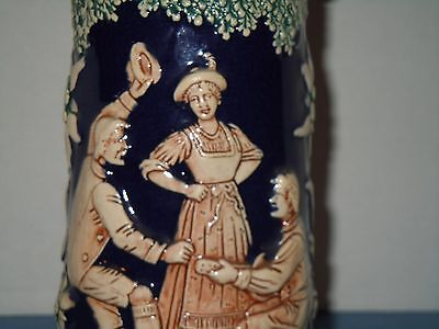 "German Ceramic Beer Stein Pottery 9"" Tall"