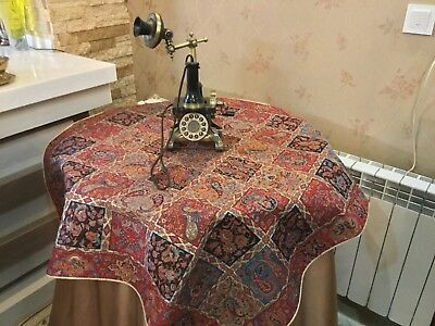 Gold Termeh Tapestry Tablecloth Woven Fine Art Silk Paisley DesignWall Hanging