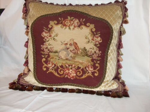Antique Needlepoint Of Courting Couple In Garden Scene On Newly Created Pillow