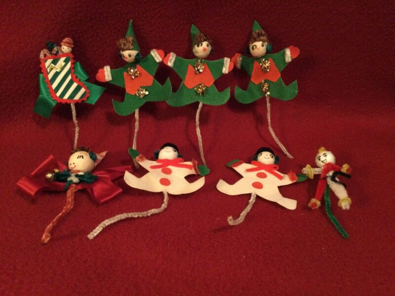 Vintage Christmas Picks-Package Tie-ons (8) Elves~Snowmen~Stocking
