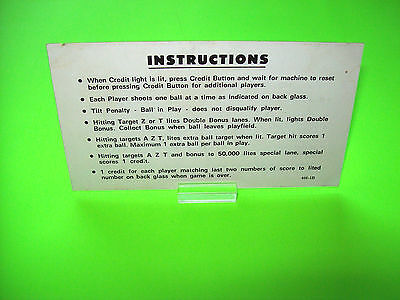 Williams AZTEC 1976 Original Flipper Pinball Machine Instruction Card 2-Sided