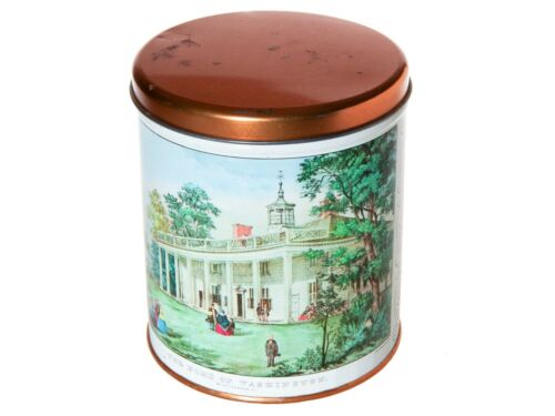 "Vintage Tin Canister -  Currier and Ives Mount Vernon ""The Home of Washington"""