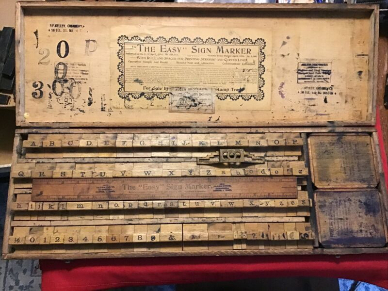 Large Antique 1898 Easy Marker Alphabet Sign Making Stamps Kit