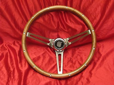 1955 to 1989 MERCURY WOOD STEERING WHEEL + HORN BUTTON NEW