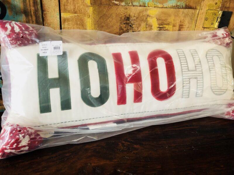 Pottery Barn Kids Ho Ho Ho Pillow Christmas Santa New Hohoho Lumbar Decor Plaid