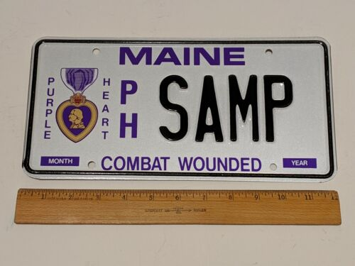 MAINE PURPLE HEART PH SAMP COMBAT WOUNDED LICENSE PLATE SAMPLE