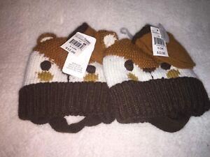 2 NWT 6-12 month fox hat & mittens