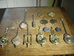 (15) VINTAGE TO ANTIQUE WALL & SHELF CLOCK PENDULUMS AND BOBS BRASS & CAST IRON