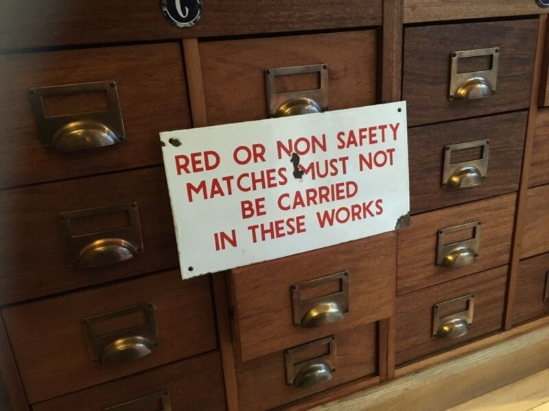 "Original Vintage 1930s enamel ""NO MATCHES IN WORKS "" Sign"