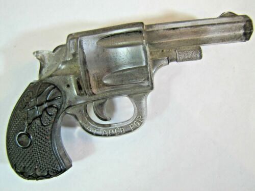 Antique Glass Gun Pistol Ornate Detailing Black Grips Silver Body Decorative Art