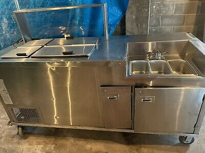 Commercial Indoor Or Outdoor Freezer With Triple Bowl Sink