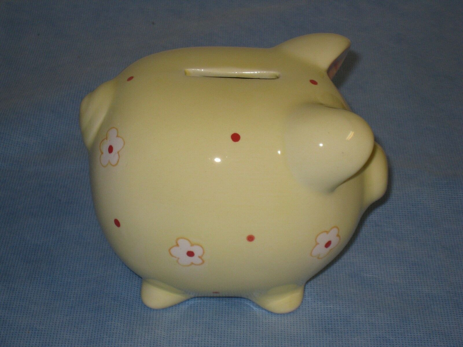 Vintage Yellow Porcelain Color with Flowers and Dots Pig Coin Bank
