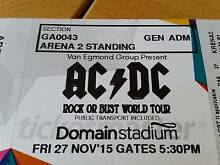 ACDC Arena 2 standing ticket $160.00 Port Kennedy Rockingham Area Preview