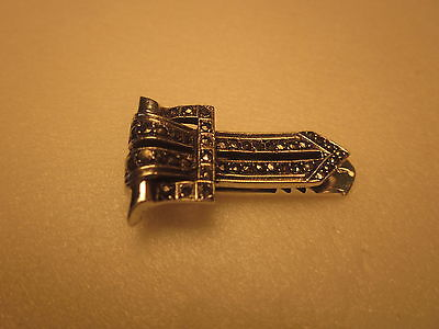 VINTAGE STERLING SILVER SCARF/BAR CLIP WITH MARCASITES