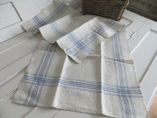 Towel Linen Handwoven Linen Blue Stripes German Antique Vintagelinen Unused