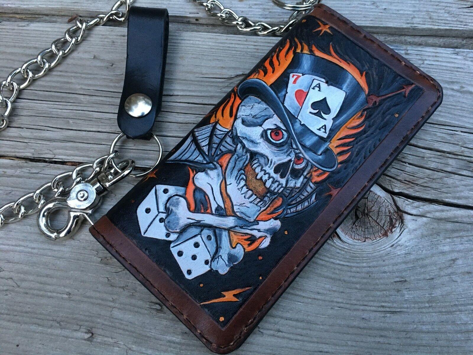 Lucky 7 Skull and Flames Gambler Tattooed / Custom Biker Cha
