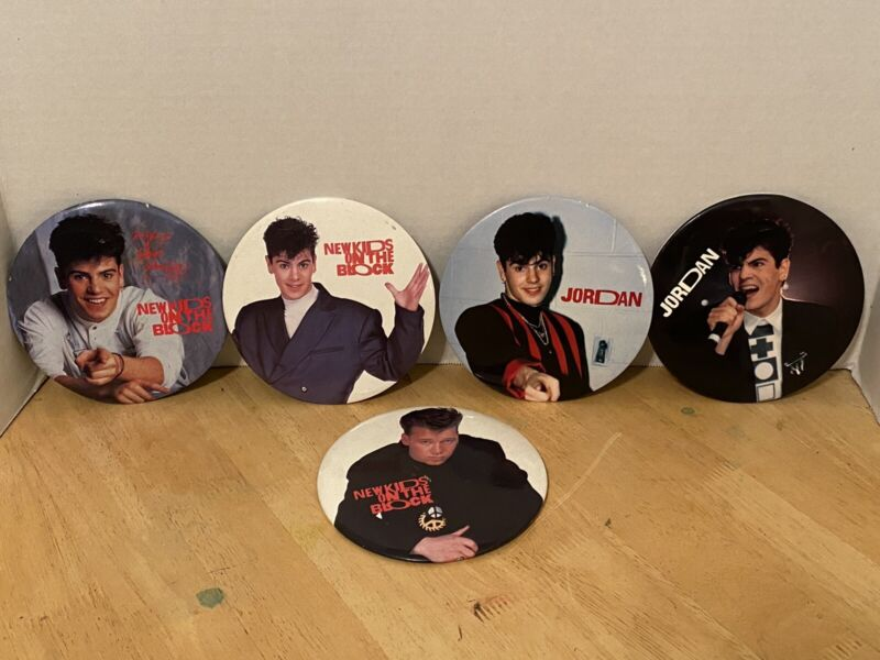 "Lot Of 5 LARGE NEW KIDS ON THE BLOCK VINTAGE 6"" BUTTON PIN 1989 Free Shipping"