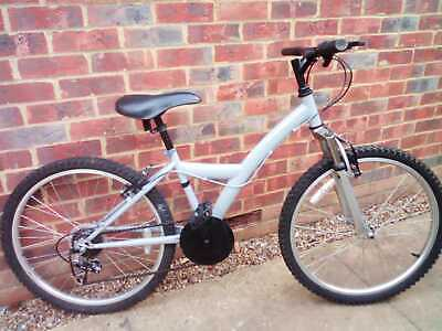 "Grey colour bike, 6 speed shimano gears,  24"" wheels with front suspension"