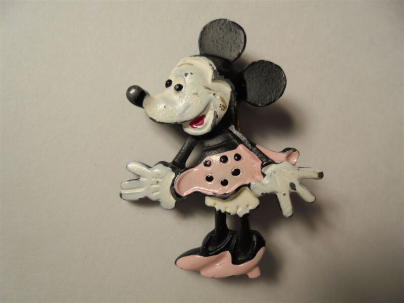 Old MINNIE MOUSE Cast Iron Figural Pin Walt Disney Prod Enameled METAL Sculpted