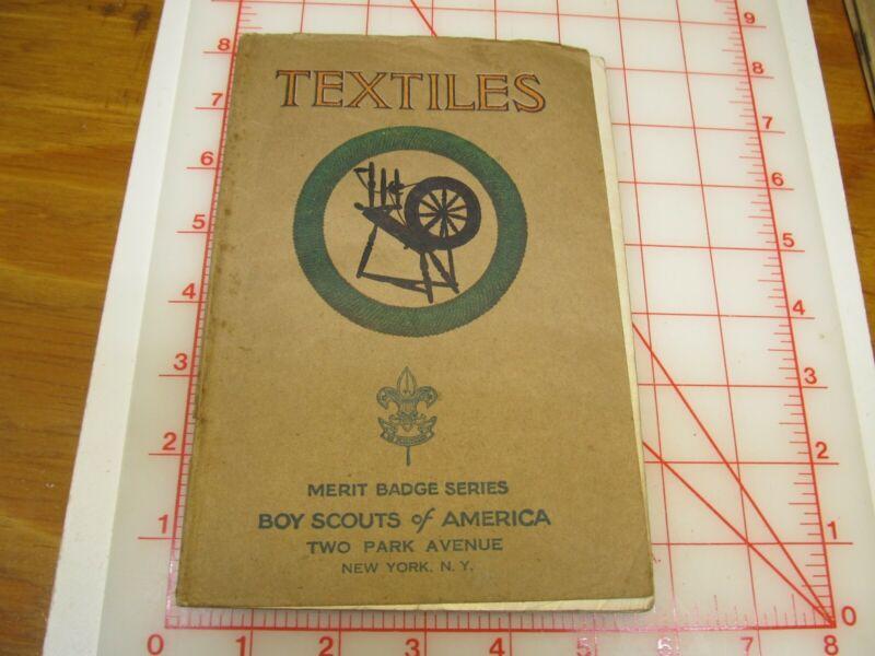 Tan cover TEXTILES merit badge book RARE COVER type (3C)