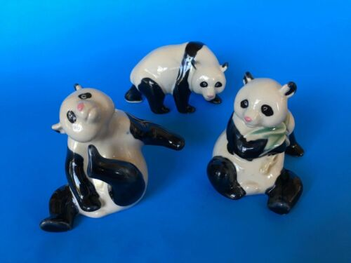 Set of 3 Panda Bear Figurines - Ceramic, Vintage, Collectible