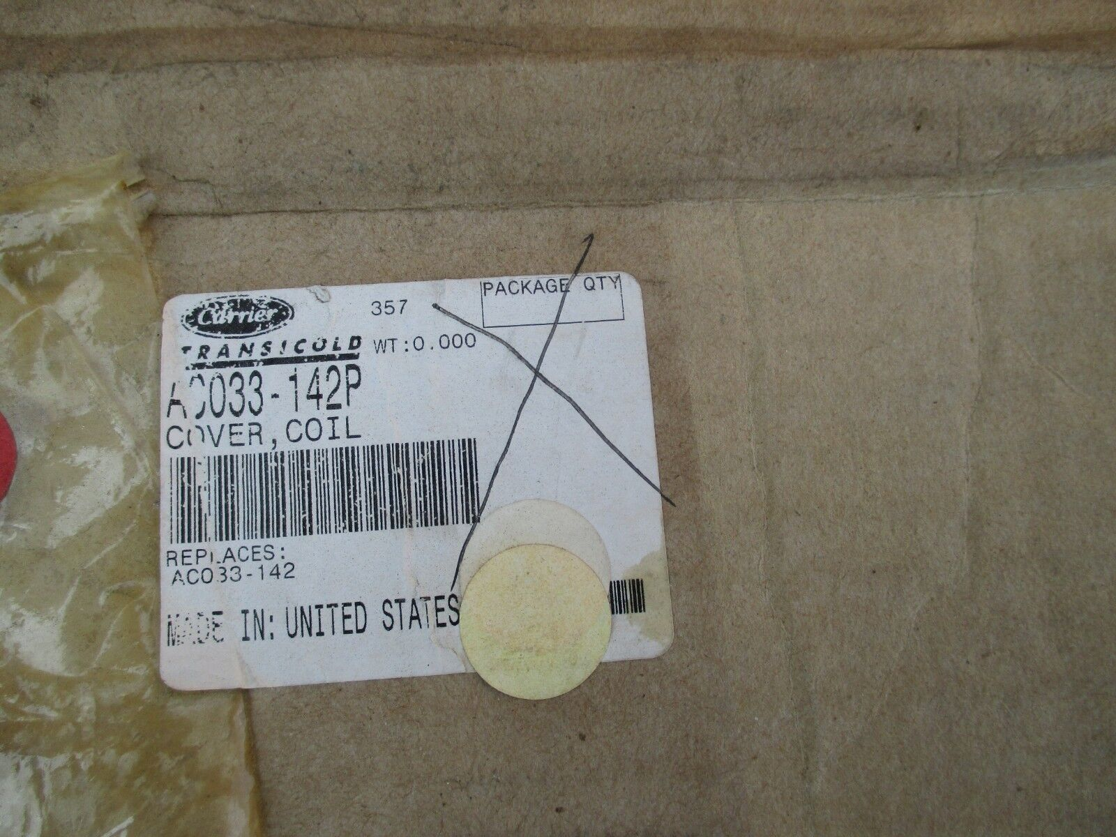 CARRIER COIL COVER AC033-142P