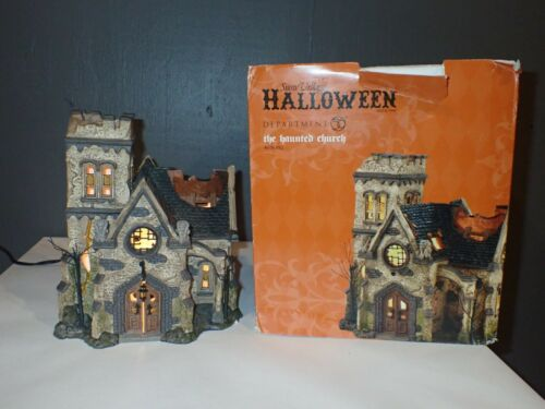 Department 56 THE HAUNTED CHURCH #4036592 Halloween Village Lighted House ~READ~
