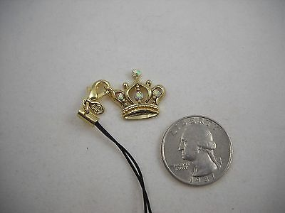 Crystal Crown Cell Phone Charm (RARE Premier Designs Gold Crown Cell Phone Charm NWT Sweet! )