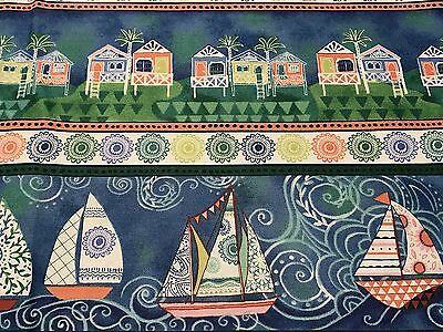 Fabric Ocean Dreams Boats Huts Stripe on Cotton 1 Yard S