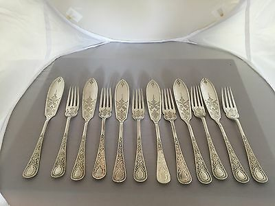 LOVELY SET OF 12 VICTORIAN SILVER PLATED FISH KNIVES AND FORKS HIGHLY DECORATED