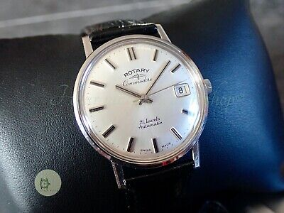 Mens STEEL vintage auto watch ROTARY COMMODORE MONOCOQUE 21j Swiss 1970 AS1749