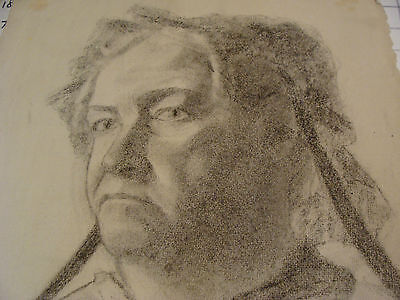 """vintage Drawing: OLDER LADY signed K S BOWERS, Great aprox 12 x 19"""" early 1900's"""