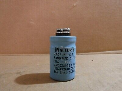 New Mallory Model Cg332u050r2c Capacitor 3300 Mfd 50 Vdc
