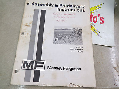 Massey-ferguson Assembly Predelivery Instructions Mf 880 Moldboard Plow