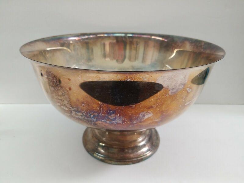 "Silver-Plated Large Plain Punch Bowl 12"" Cooler Fruit Bowl"