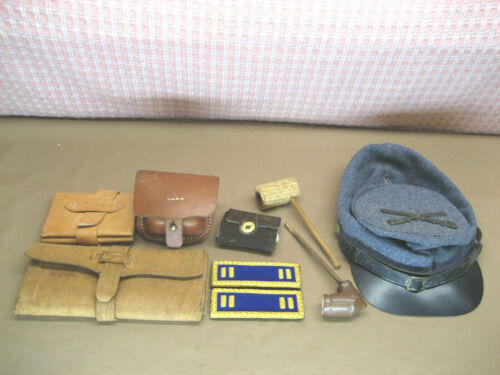CIVIL WAR Reenactment CSA Hat Shoulder Straps Money Wallet Sewing Pouch Pipe VTG