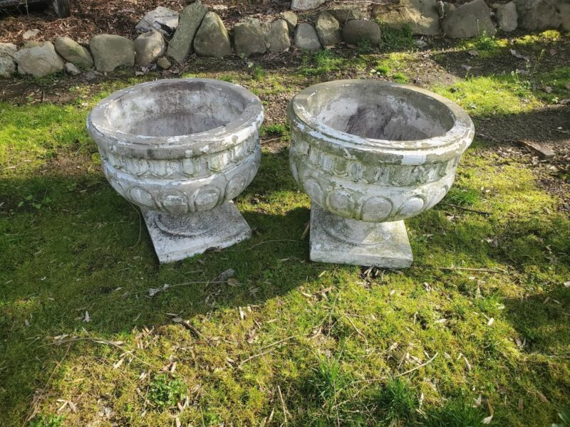 Pair of Huge XL Vintage Concrete Flower Planters - Very Heavy, Sturdy & Detailed