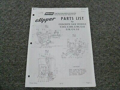 Norton Clipper C-363 C-300 C-180 C-52 Concrete Saw Parts Catalog Manual