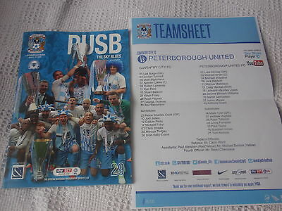 COVENTRY CITY v PETERBOROUGH UNITED - 08/04/2017 - PROGRAMME AND TEAMSHEET
