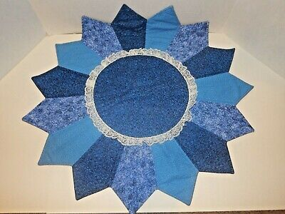 """Beautiful Blue Star Doily Cover - 27"""" Wide - Adorned with Lace - GORGEOUS!!"""